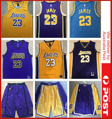 premium selection 54c92 44473 LEBRON JAMES KING #23 LBJ Los Angeles Lakers Stitched Basketball Jersey  Shorts