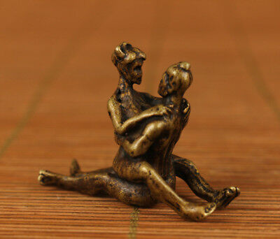 Exquisite old brass Hand Carved Belle girl Statue Collectable pendant netsuke