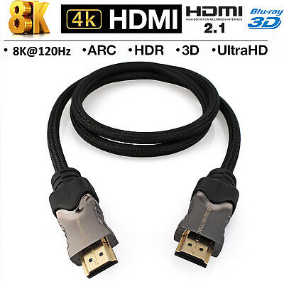 Ultra HD HDMI Cable 2.1 Super Speed + Ethernet HDTV 2160p 8K 4K 3D Chrome Cable