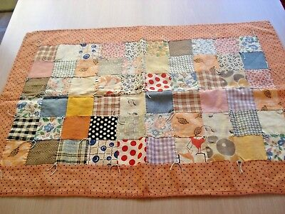 "Antique Vintage Hand Sewn Patchwork Doll Quilt Table Centerpiece Mat - 23"" x 16"""