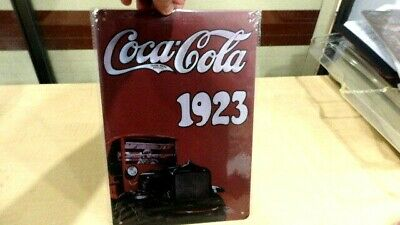 """New Steel Adverting Sign in Colour - Featuring """" COCA  COLA 1923 """"  12'' x 8''"""