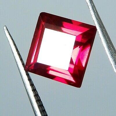 3.45 Ct. Natural Beautiful Square Cut Red Ruby Mozambique Loose Gemstone
