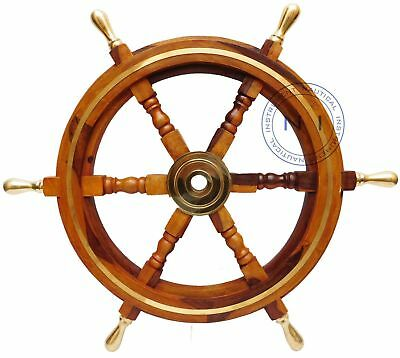 Wheel Ship 36 Wooden Nautical Decor Wall Steering Brass Pirate Boat Handcrafted