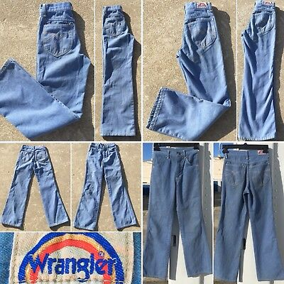 Vintage Wrangler Jeans 70s 1970s Flare Leg Boys 12 Slim Made In USA