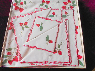 Gorgeous Vintage Embroidered Strawberry Supper Set + 4 Napkins, Boxed