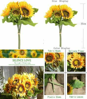 Famibay Artificial Flowers 7 Stems Sunflowers 1 Bouquet, A-yellow