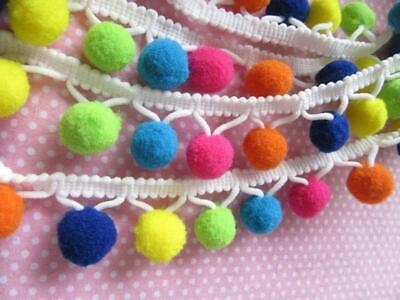 Clearance Remnant Pcs Multicolour Pom Pom bobble Fringe Trim lace Craft Ribbon