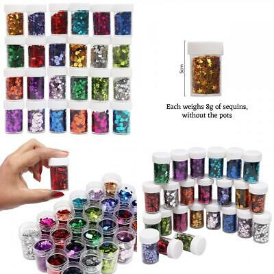 24 Pack Glitter Stars and Heart Sequin Pots - Assorted Colors Craft Hearts &...