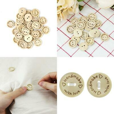 Kbnian 100 PCS Wooden Button 20mm Handmade with Love Buttons Natural Round 2...