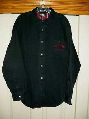 2623695c Men's HARLEY DAVIDSON Long Sleeve Snap Up Flannel Lined Shirt Size 2XL GUC