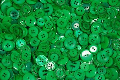 Pack of 250g - GREEN BUTTONS - Mixed Sizes Various Green Buttons for Sewing...