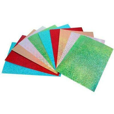 10 Sheets of A4 Holographic Card, 5 Colours per Pack, Assorted Patterns