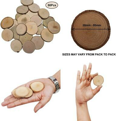 Kurtzy 50 Pack of 4-5cm Round Natural Wood Slices Rustic Discs with Bark and...