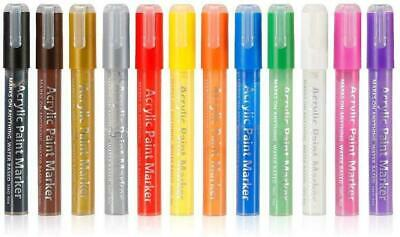 Acrylic Marker Pens Craft Art Paint – Permanent Water Based Ink,...