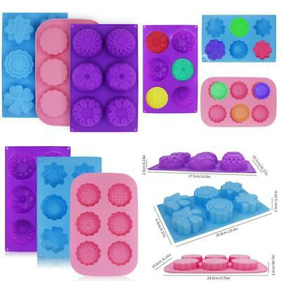 3 Pcs Cake Muffin Mooncake Silicone Molds, FineGood Flower-Shaped Pans for...