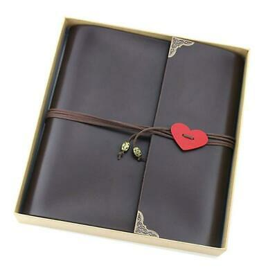 XIUJUAN Scrapbook with Gift Box, Vintage Leather Photo Album Black Pages...