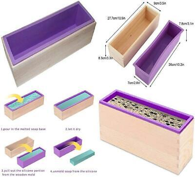 Alytimes Soap Silicone Mold with Wood Box for Homemade 42oz Produce (Purple)