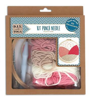 D.I.Y with Toga Starter Kit Punch Needle, Plastic, Wool Pink and Beige, Pack...