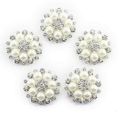 UEETEK 10pcs Faux Pearl Flower Buttons Embellishments for Craft