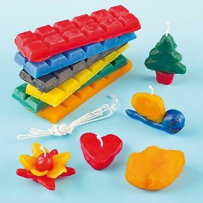 Candle Making Kit 6 Colour Blocks 240g Wax & Wicks for Children to Design &...