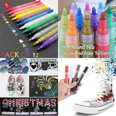 TB® Acrylic Paint Pen Set of 12 Colors Pens for Painting on Rock, Glass,...
