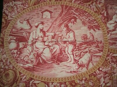 ANTIQUE FRENCH TOILE DE JOUY TYPE PRINTED COTTON RED AND OCHRE ca. 1830