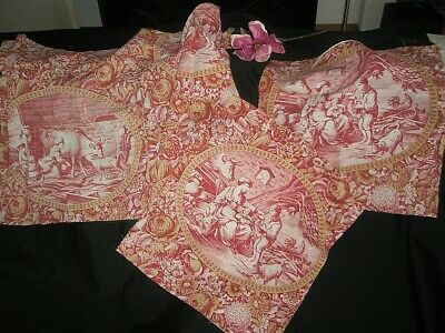 ANTIQUE FRENCH PRINTED TOILE DE NORMANDIE PIECE IN RED AND OCHRE ca. 1830