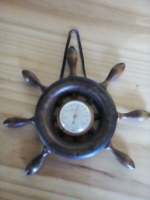 Vintage wooden thermometer - ship steering wheel shape - farenheit