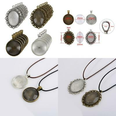 12 Pieces Oval Pendant Trays and 12 Round Bezels with 24 Glass Dome Tiles...