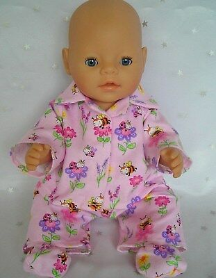 "Dolls clothes for 17"" Baby Born doll~ BEES & FLOWERS WINTER PYJAMAS~BED SOCKS"