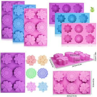 3 PCS Silicone Flower Cake Molds, SENHAI 6-Cavity Chocolate Biscuit Muffine...