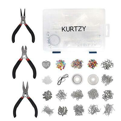 Kurtzy Silver Plated Jewelry Making Kit with 3X Pliers, Findings and Beads...