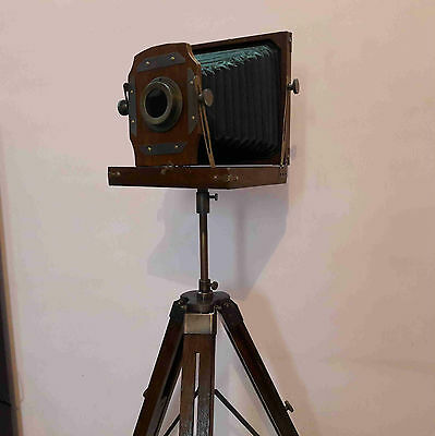 Antique Folding Camera With Wooden Tripod Home Decorative Gift