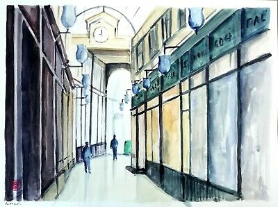 Paris, passage. Grande aquarelle originale signée