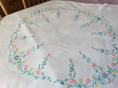 "Vintage Hand Embroidered Linen Tablecloth 31"" x 33"""