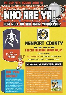 MIDDLESBROUGH v NEWPORT COUNTY  2018/19  FA CUP  Who Are Ya!   Leaflet