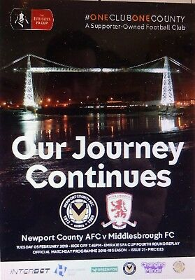NEWPORT COUNTY v MIDDLESBROUGH   2018/19   FA CUP 4th Round Replay