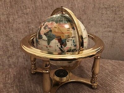 White And Black Lapis Globe - Brass Stand With Compass