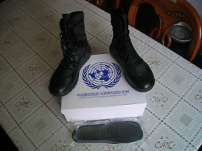 07's series China PLA Army United Nations Combat Microfiber Leather Boots,Black