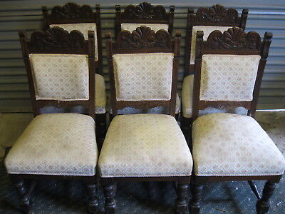 6 x 1930s / 40s ANTIQUE OAK? DINING CHAIRS NO TABLE