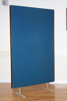 5 solid display boards on stands,  72''high, dark wood frames, blue material