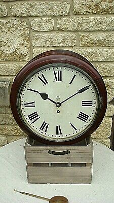 Vintage Rare Geo Vi Mahogany 8 Day Single Fusee Double Sided G.p.o. Dial Clock