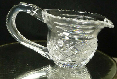 Antique Cut Lead Glass Crystal Pitcher Creamer American Brilliant Applied Handle