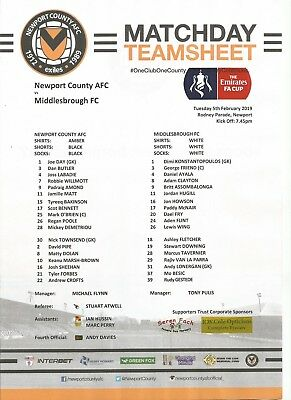 NEWPORT COUNTY v MIDDLESBROUGH    2018/19  FA CUP      Team Sheet