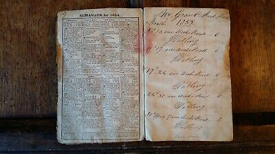 1855 Antique Original Victorian Rent Book And Almanack - Grant Watling