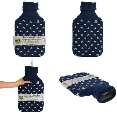 UMOI Eco Hot-Water Bottle 2 litres with High-Quality Knitted Cosy Removable Cover Star Pattern Grey Star Model 2019