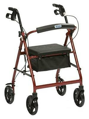 Drive DeVilbiss Healthcare R8 Red Aluminium Rollator with Padded Seat and...