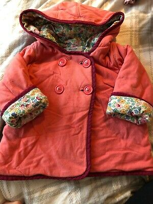 Baby Boden hooded coat jacket baby girl 6-12 months. Soft padded pink/floral
