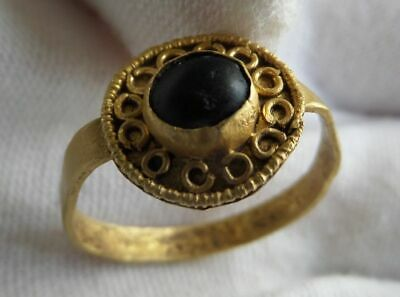 Early Medieval Merovingian Gold Ring With Black Onyx Cabochon
