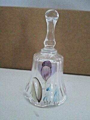 """Fenton  bell clear class  with hand painted tulips design 4 1/4"""" tal excellent"""